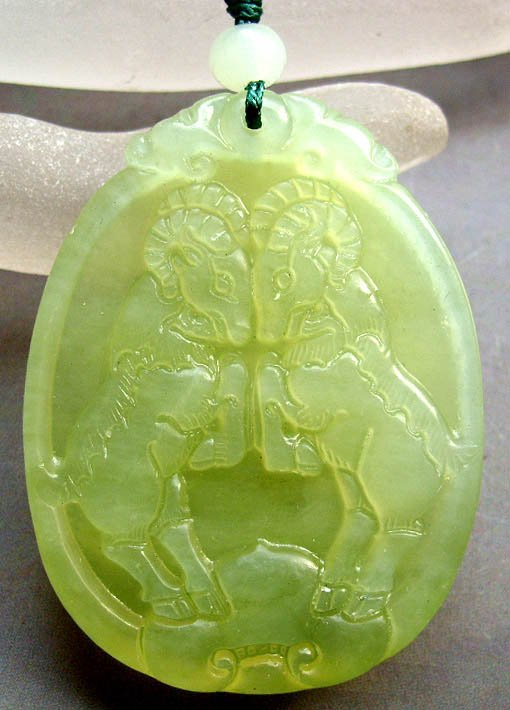 Light Green Jade Fortune Zodiac Twin Sheep Goat Amulet Pendant 48mm*35mm  T0548