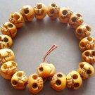 12mm Ox Bone Carved Skull Beads Tibet Buddhist Prayer Bracelet Wrist Mala  T0629