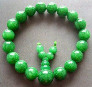 10mm Green Stone Beads Tibetan Meditation Prayer Yoga Bracelet Rosary Wrist  T0647