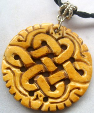 Ox Bone Carved Chinese Everlasting Lucky Knot Pendant 40mm*40mm  T0659