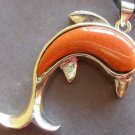 Goldstone Inlaid Silver Tone Alloy Metal Dolphin Pendant 37mm*25mm  T0669