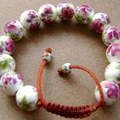15mm White And Rose Pink Chinese Porcelain Flower Leaf Beads Adjustable Bracelet  T0689