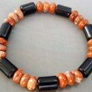 Black Agate Gem Pill Stone Abacus Beads Elastic Bracelet  T0769