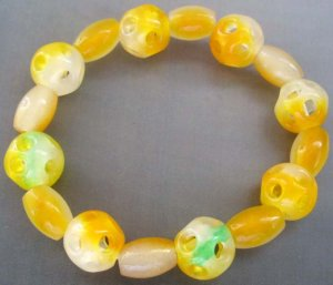 Yellow Green Jade Lu Lu Tong Drum Beads Jewelry Bracelet  T0821