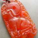 Red Carnelian Agate Fortune Zodiac Dog Amulet Pendant 35mm*20mm  T0838
