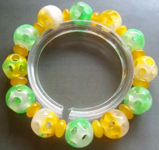 Jade Lu-Lu Tong All The Way OPen Beads Jewelry Bracelet  T0876
