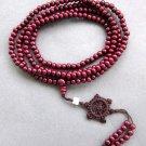 216 Purple Sandalwood Beads Tibet Buddhist Prayer Rosary Mala Necklace  ZZ130
