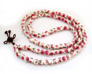 8mm Vintage Style Porcelain Beads Tibet Buddhist Prayer Japa Mala Necklace  ZZ146