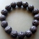 12mm Volcano Stone Beads Yoga Meditation Japa Mala Bracelet  T0947