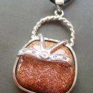 Goldstone Inlaid Alloy Metal Small Lady Handbag Pendant 32mm*24mm  T0965