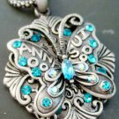 Acrylic Diamond Alloy Metal Butterfly Pendant Necklace 40mm*33mm  T1037