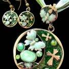 A Set Acrylic Diamond Alloy Metal Pendant Necklace Earring  1063