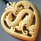 Ox Bone Carved Mythical Celestial Dragon Heart Amulet Pendant 45mm*35mm  T1223