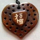Ox Bone Carved Fortune FU Good Blessing Heart Pendant 30mm*30mm  T1229