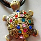 Acrlic Diamond Alloy Metal Longevity Turtle Pendant 25mm*22mm  T1234