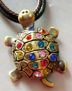 Acrlic Diamond Alloy Metal Longevity Turtle Pendant 25mm*22mm  T1234