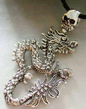 Alloy Metal Skull Chinese Dragon Pendant Necklace 95mm*50mm  T1313