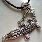 Alloy Metal Skull Crocodile Pendant Necklace 98mm*45mm  T1314