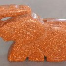 Goldstone Carved Elephant Figurine Pendant 37mm*27mm  T1332