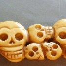 Ox Bone Carved Thirteen Skulls Pendant 105mm*33mm  T1340