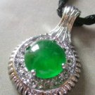 Vintage Style Green Jade Allpy Metal Pendant 28mm*18mm  T1393
