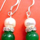 Pair Of Acrylic Diamond Pearl Deep Green Jade Beads Earrings 15mm*8mm  T1505