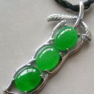 Malay Jade Alloy Metal Four-Season Bean Pendant Necklace T1531