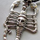 Alloy Metal Skull-Head Scorpion Pendant Necklace 70mm*50mm  T1537
