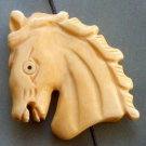Ox Bone Carved Horse-Head Pendant Bead 35mm*33mm  T1546