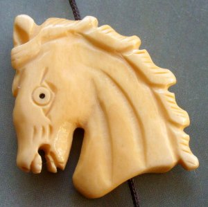 Ox Bone Carved Horse-Head Pendant Bead 35mm*33mm  T1546