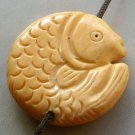 Ox Bone Carved Prosperous Fish Pendant Bead 28mm*28mm T1552