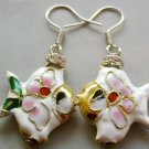 Pair Of Cloisonne Enamel Alloy Metal Fish Earrings 20mm*18mm  T1568