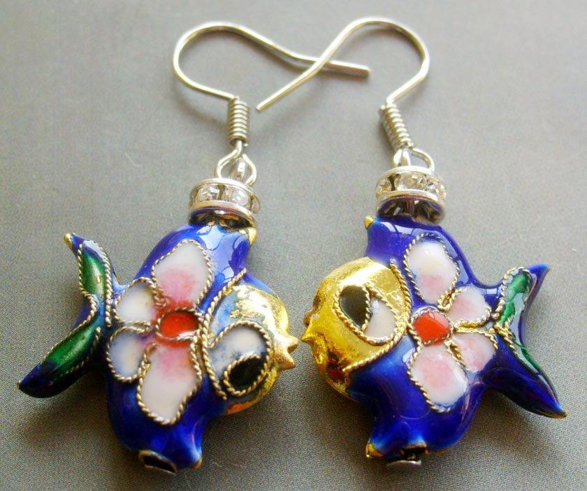 Pair Of Cloisonne Enamel Alloy Metal Fish Earrings 20mm*18mm  T1572