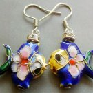 Pair Of Cloisonne Enamel Alloy Metal Fish Earrings 20mm*18mm  T1572