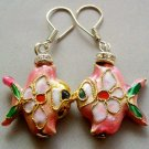 Pair Of Cloisonne Enamel Alloy Metal Fish Earrings 20mm*18mm  T1573