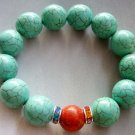 15mm Blue Turquoise Gem Beads Bracelet  T1674