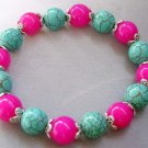 Pink Jade And Blue Turquoise Beads Bracelet  T1676