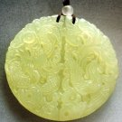 Light Green Jade Dragon Phoenix Love Amulet Pendant 48mm*48mm  T1707