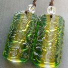 Pair Of Yellow Green Crystal Quartz Dragon Phoenix Amulet Pendant 35mm*16mm  T1727