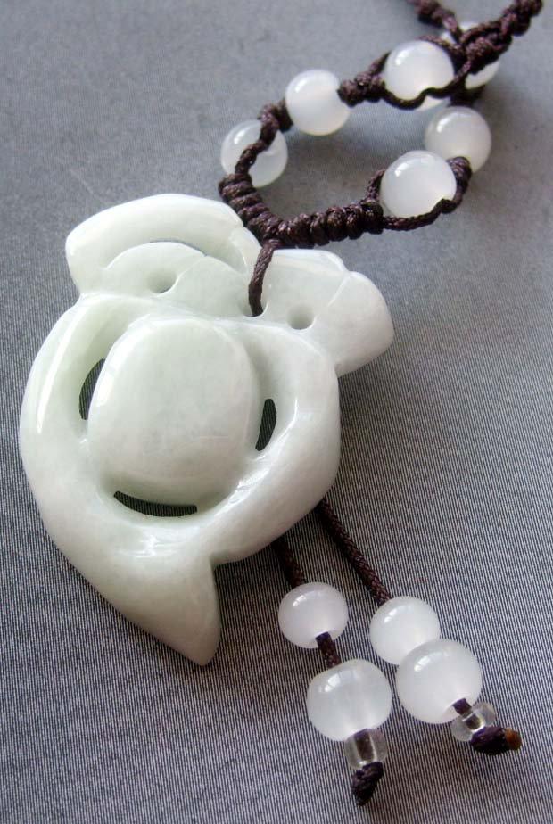 Natural Jade Jadeite Bead Pendant Necklace 35mm*25mm  T1732