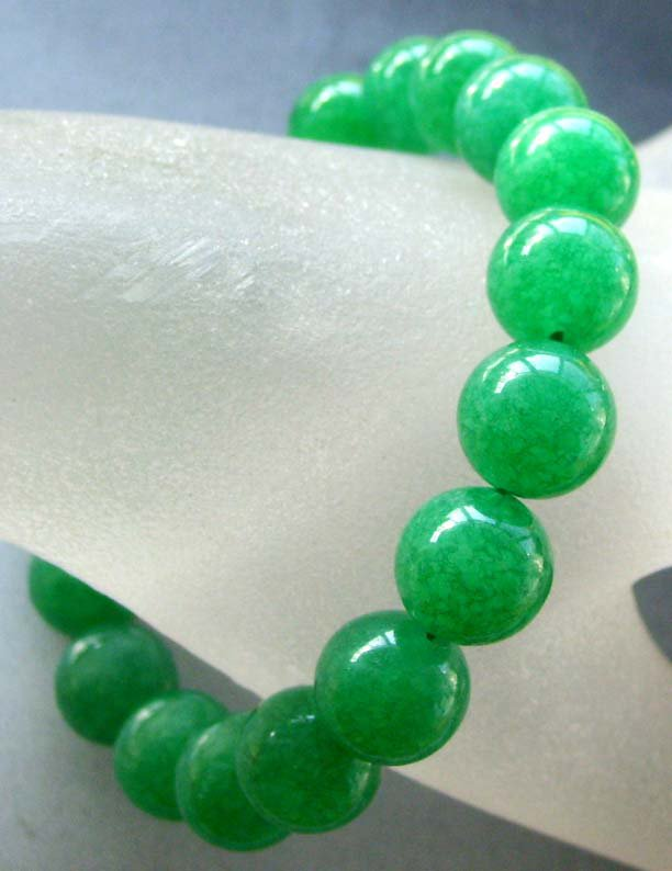10mm Green Jade Beads Bracelet  T1763