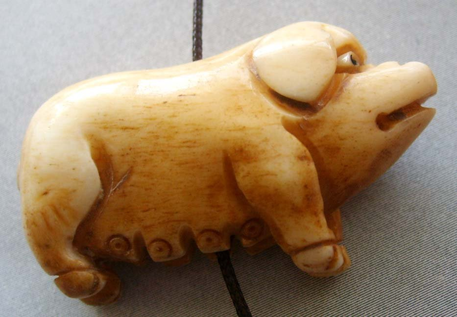 Ox Bone Carved Lovely Pig Pendant Bead 35mm*20mm  T1770