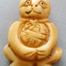 Ox Bone Carved Cat Pendant Bead 33mm*24mm  T1771