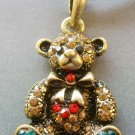 Acrylic Diamond Alloy Metal Bear Pendant 30mm*23mm  T1795