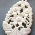 Ox Bone Carved Butterfly Flower Pendant 42mm*27mm  T1800