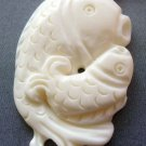 Ox Bone Carved Two Prosperous Fishes Pendant 38mm*24mm  T1801