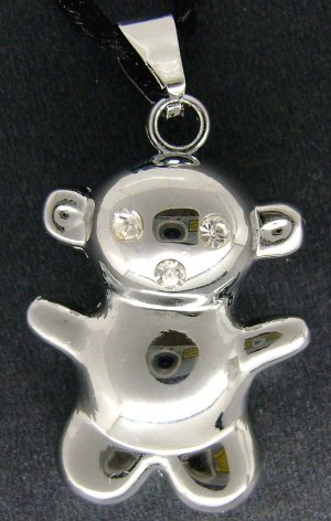 Acrylic Diamond Alloy Metal Bear Pendant 30mm*25mm  T1810