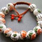 12mm Porcelain Flower Leaf Callgraphy Word Beads Bracelet  T1833