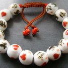 12mm Porcelain Word XI YUAN Heart Beads Bracelet  T1837