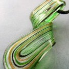 Lampwork Glass Twist Pendant Necklace 66mm*25mm  T1846